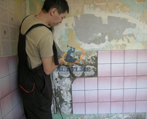 къртене почистване извозване на плочки в кухня